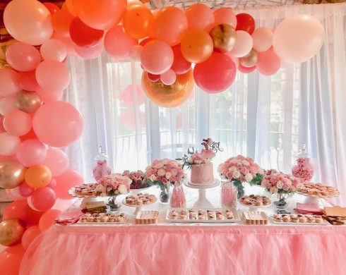Baby Girl Shower Dessert Table with Balloons