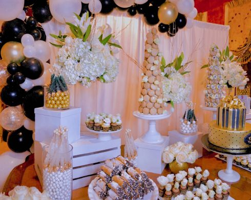 50th Birthday Black and Gold Desserts with Balloons