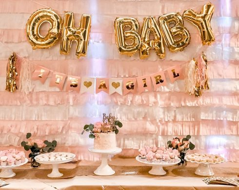 Baby Girl Shower Dessert Table with Tassel Backdrop