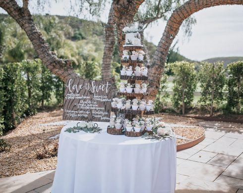 Rustic Tree Stand Wedding Cupcake Display