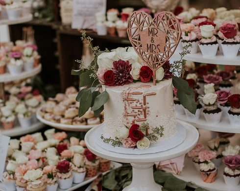 Rose Gold Geometric Cake, Cupcakes, and Candy Display